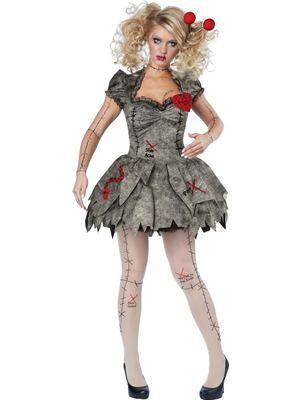 Womens Freaky Voodoo Doll Adult Halloween Horror Zombie Fancy Dress Costume