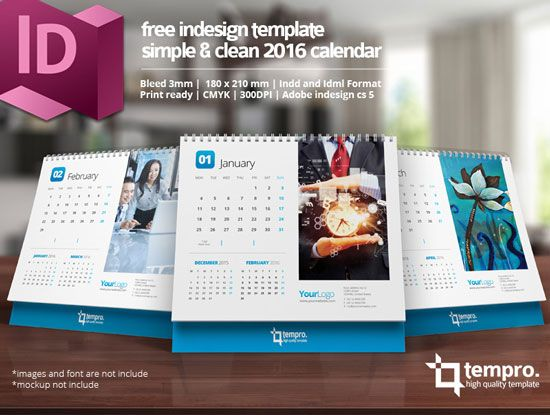 Free 2016 Calendar Design Templates Free InDesign Templates