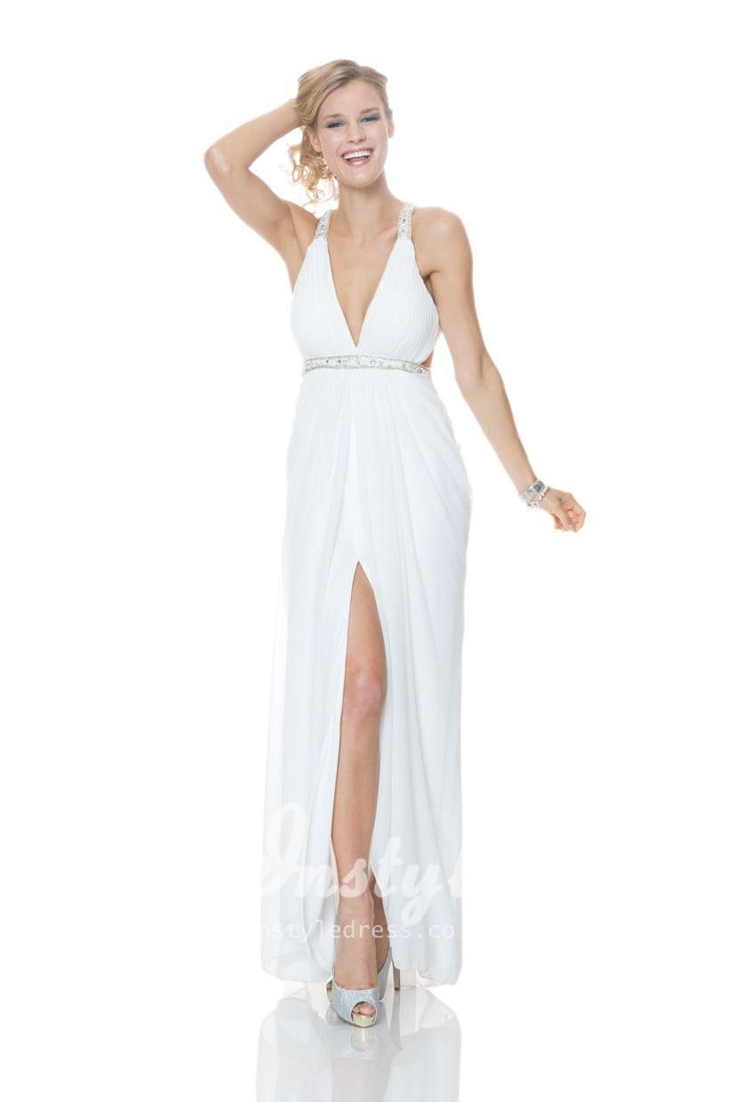 White plunging neck sleeveless a line long evening dress with slit