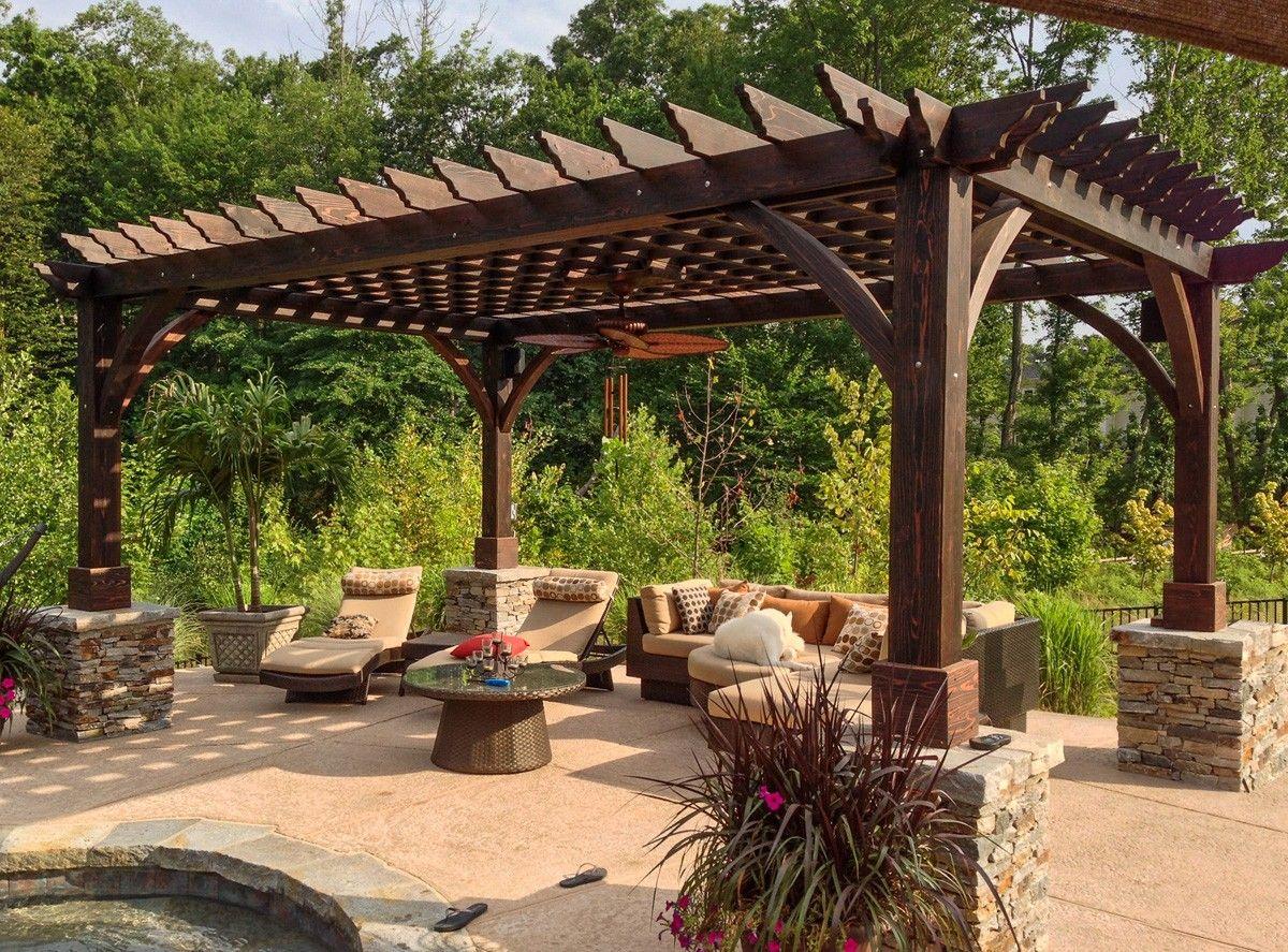 Roof Design Ideas: Cherry Hill Pergola (Options: 20' X 14', Redwood