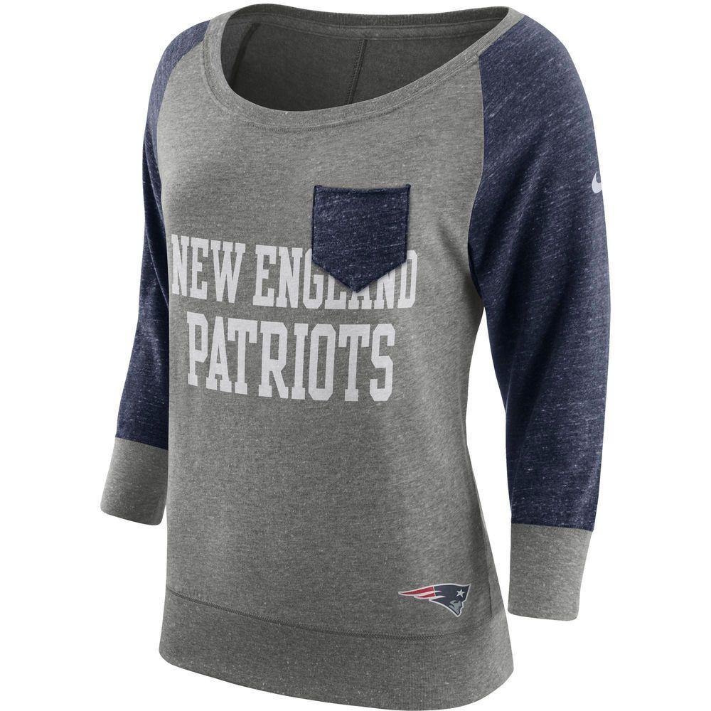 Women s New England Patriots Nike Heathered Gray Navy Tailgate Vintage  Raglan 3 4- f1bd023dd