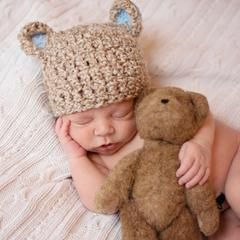 e00cd55af6a Brown Chunky Sugar Bear Baby Boy Beanie Hat with Blue Ears icon ...
