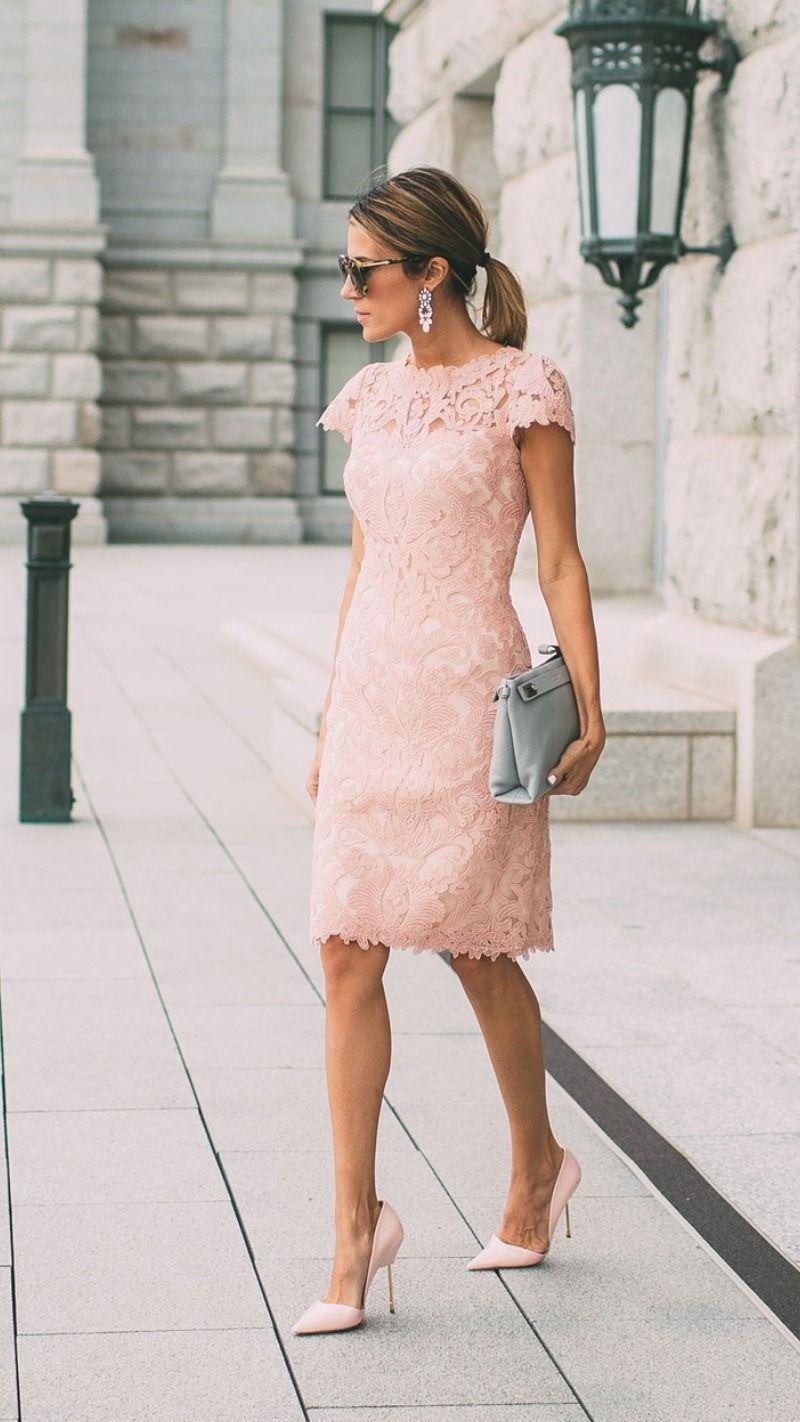 Sheath Blushing Pink Prom Dresses Short Sleeves Lace Evening