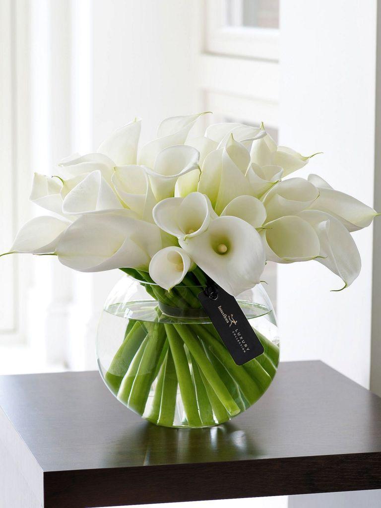 White Calla Lily Flower Arrangement 2 White Flower Arrangements Spring Flower Arrangements Flower Arrangements Center Pieces
