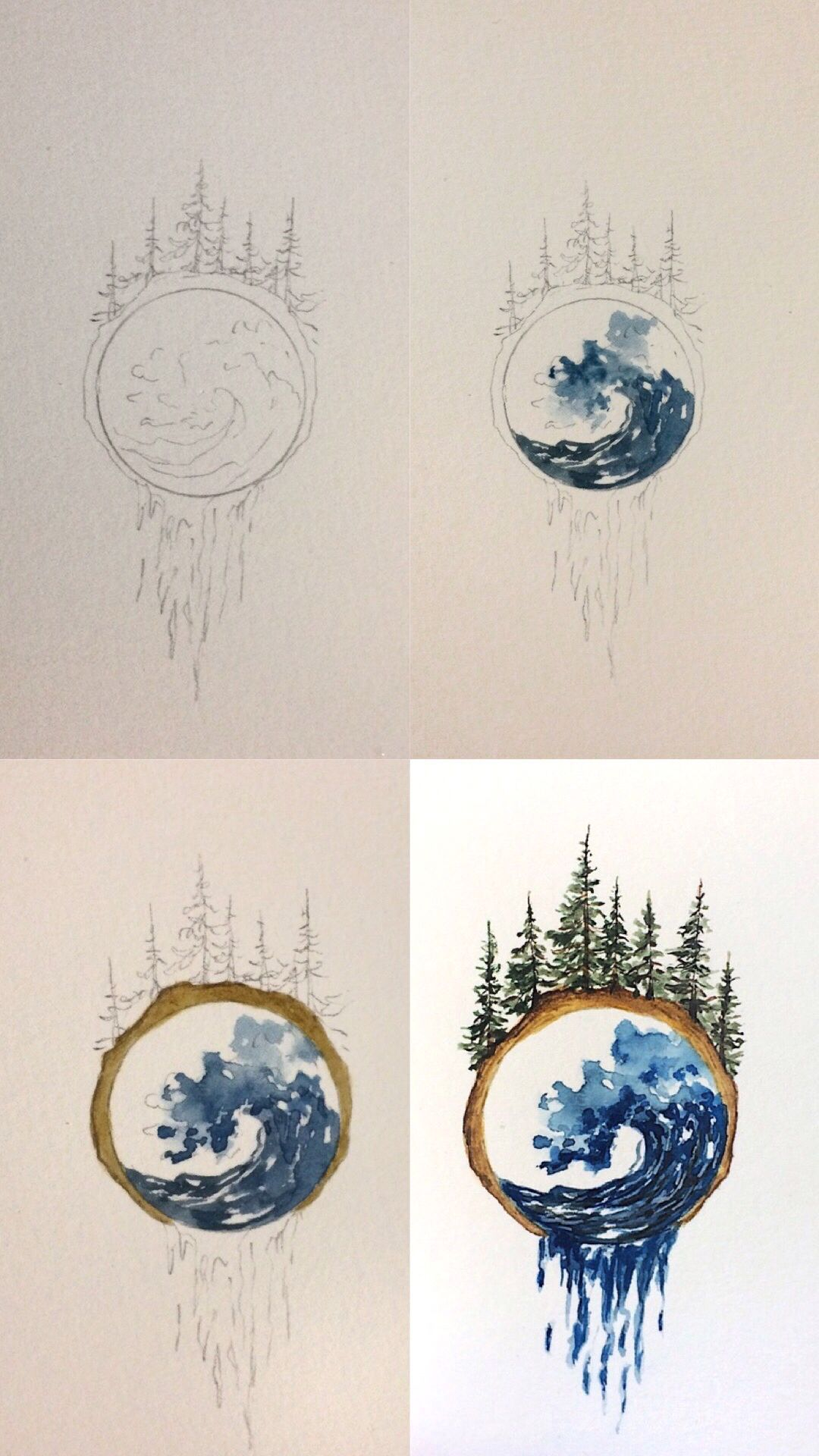 Another Mini Tutorial Of A Watercolor Woodslice Doodle Tutorial