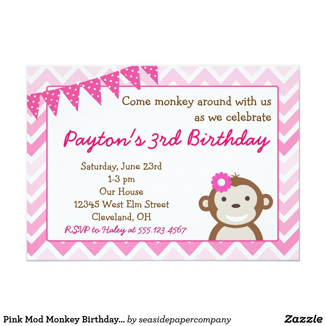 Pink Mod Monkey Birthday Party Invitation | Monkey birthday parties ...