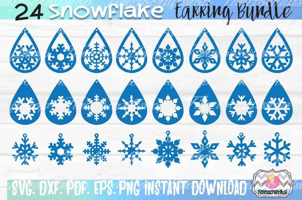 SVG, DXF, PDF, PNG, and EPS 24 Snowflake Earring Template