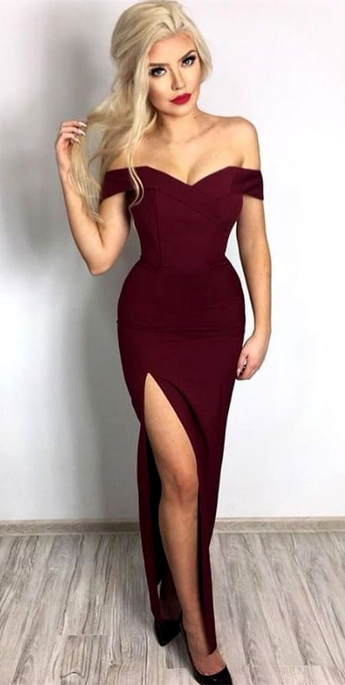 Off The Shoulder Long Prom Dress With Slit Burgundy Formal Evening