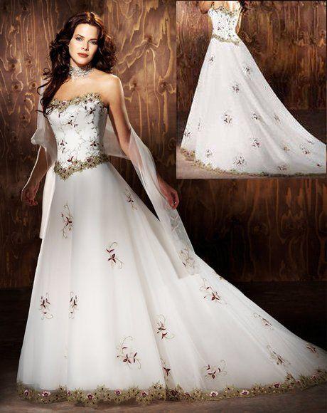 Brautkleid Arabeske Hochzeitskleid Gold bestickt 34 36 38 40 42 ...