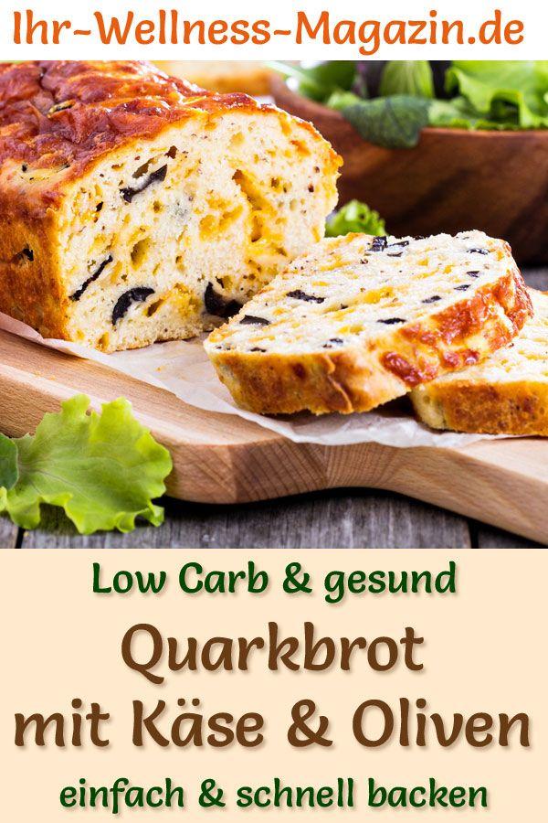 Für Ostern Quarkbrot mit Käse und Oliven backen - gesundes Low-Carb-Rezept ohne Hefe