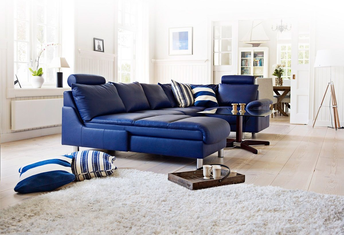 Navy Blue Leather Sofa In 2020 Blue Leather Sofa Living Room Sets Furniture Contemporary Living Room Furniture