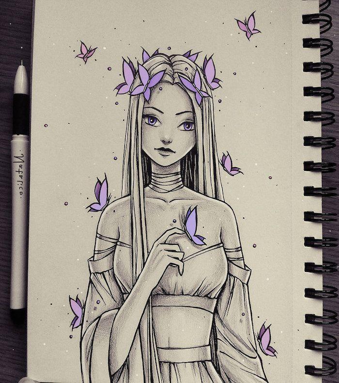 langes Haar, lila Schmetterlinge, weißer Hintergrund, wie man Schritt für Schritt ein Gesic…..