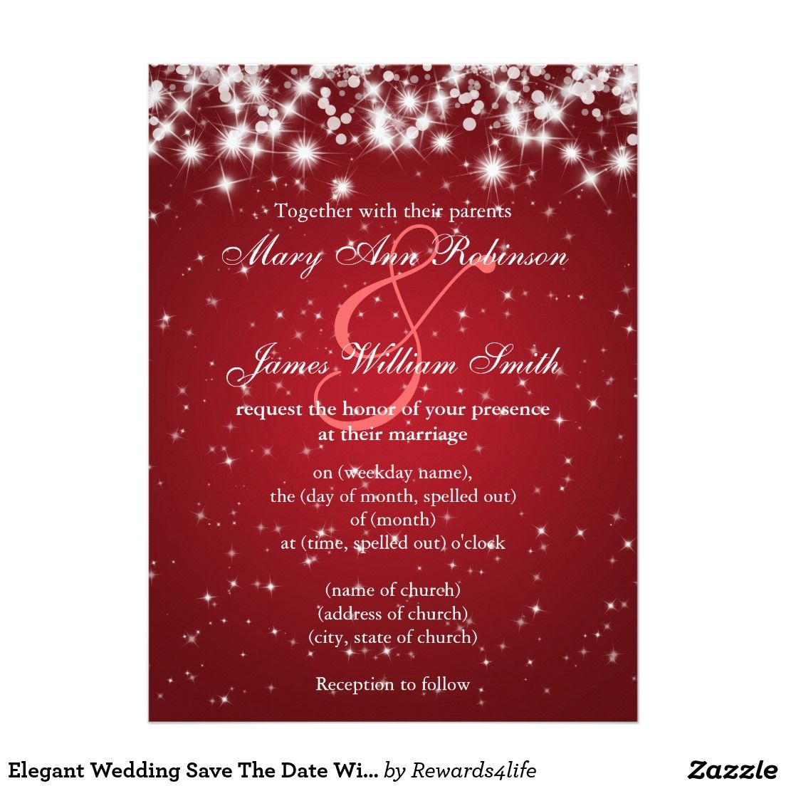 Elegant Wedding Save The Date Winter Sparkle Red Card | Elegant ...
