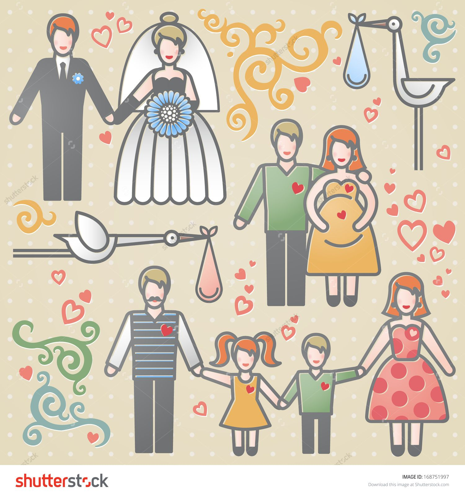 Vector set with happy families. Father, mother and children. Design elements, designers toolkit. It can be used for decoration of web page, invitations, cards, brochures, magazines, leaflets, bags.