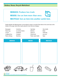 Reduce, Reuse, Recycle Worksheet | evnirovment | Pinterest ...