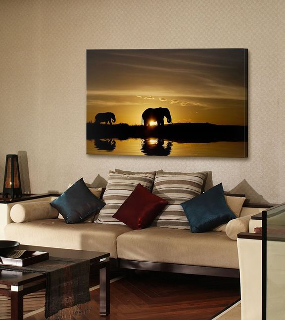 African Elephant Sunset Decor Room Living Room African Themed