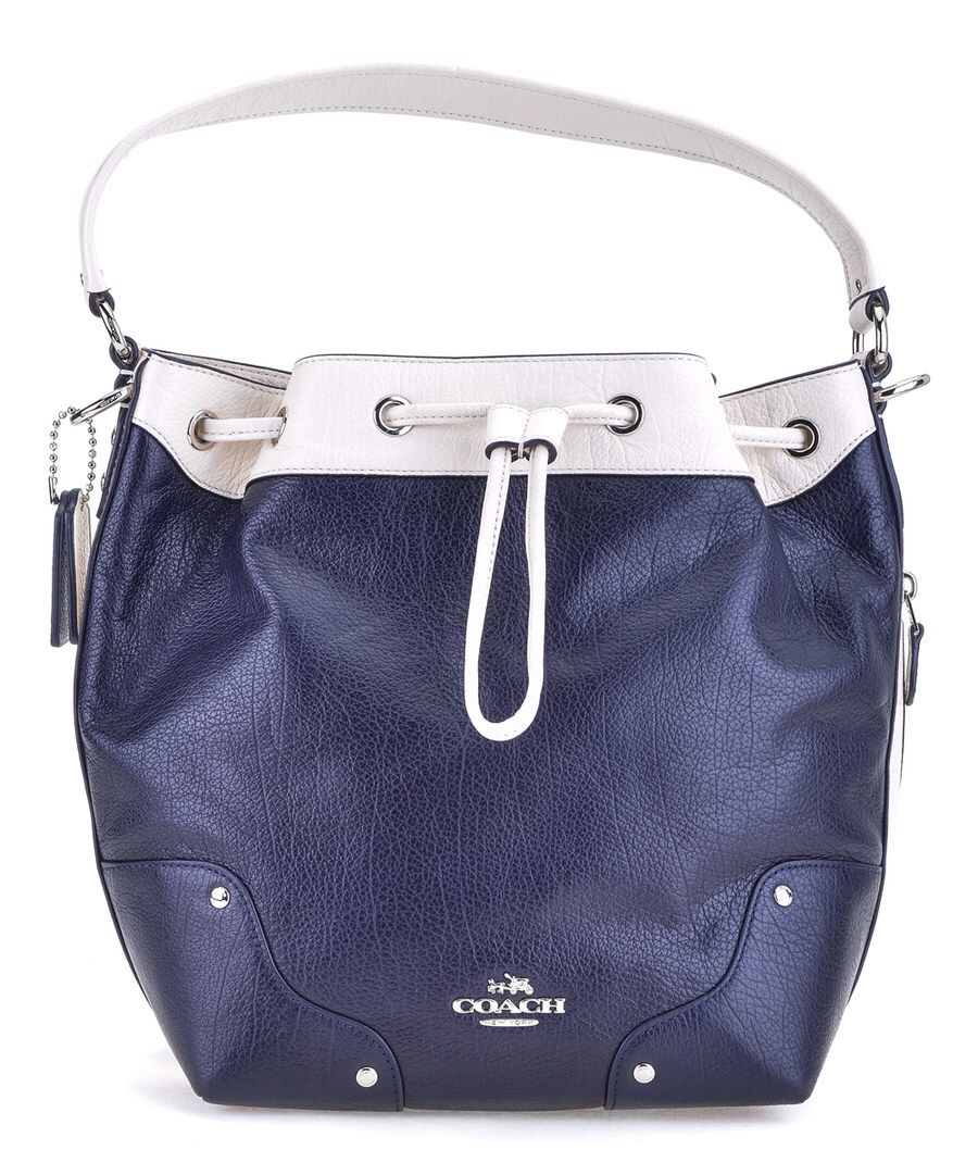 Look at this Coach Midnight & Chalk Mickie Leather Bucket Bag on #zulily today!