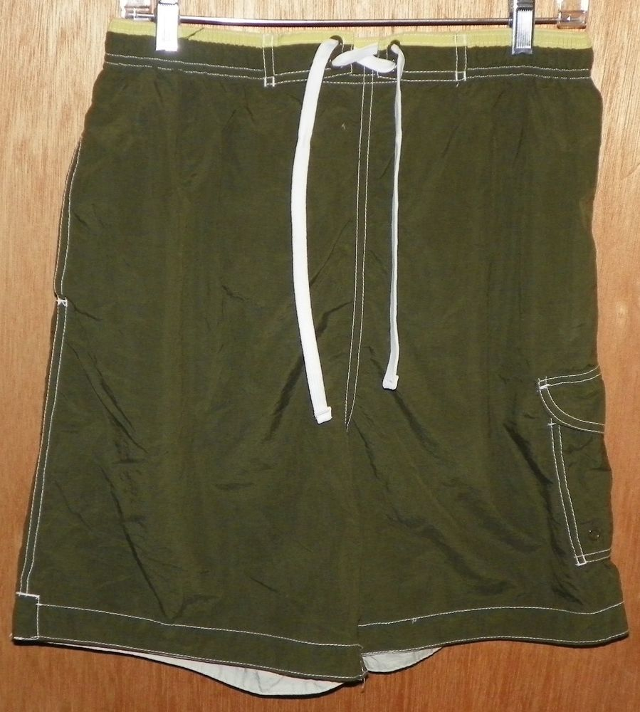 4e076969293e9 Sand and Sun Swim Trunks Board Shorts Size M 32-34 Olive Green #SandandSun # BoardShorts
