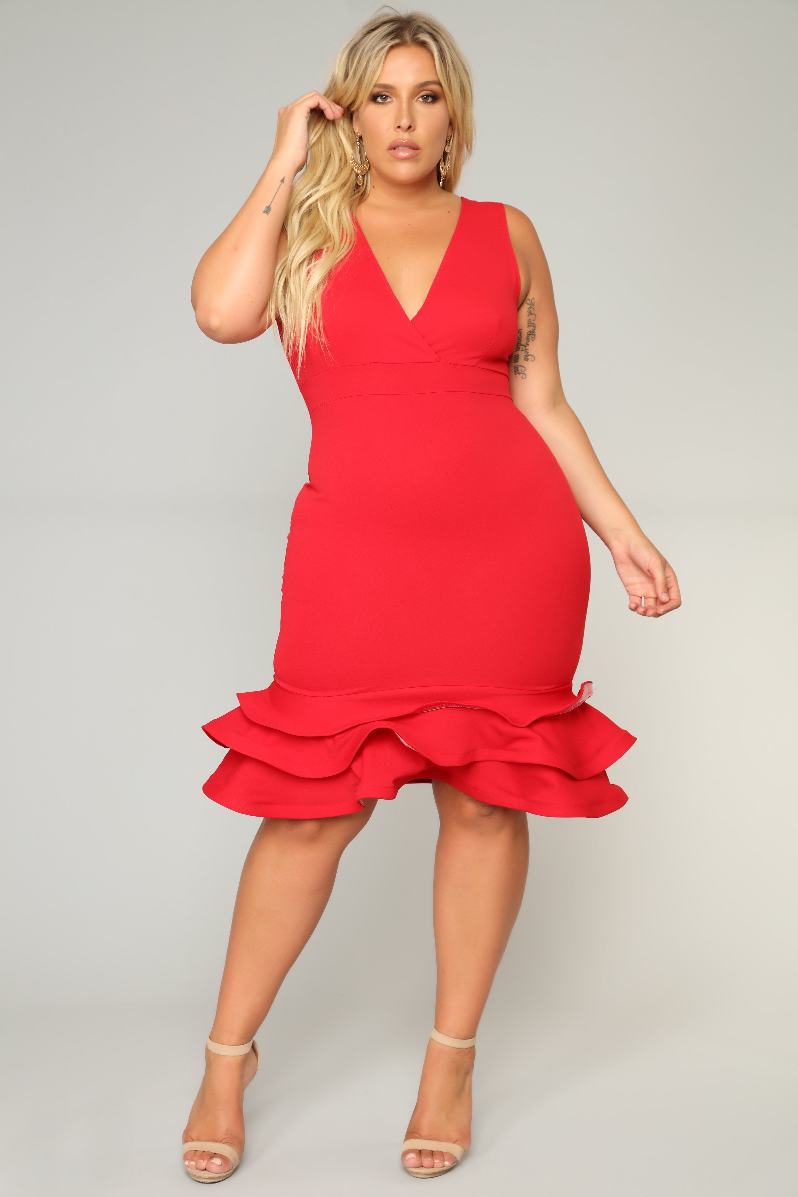 Dates with babe ruffle dress red plus size red dress