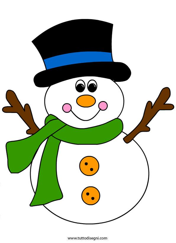 Pupazzo di neve con cappello e sciarpa - TuttoDisegni.com  e8ed597fd96b