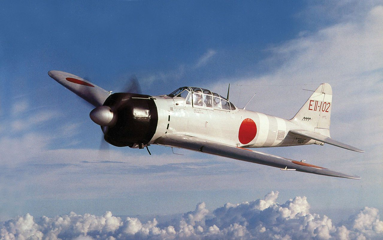 "A6M ""Zero"" Zeke fighter airborne"