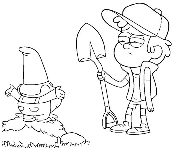 Dipper Pines And Gnome Digging With Shovel Gravity Falls Coloring Page Kids Play Color In 2020 Fall Coloring Pages Gravity Falls Gnome Coloring Pages