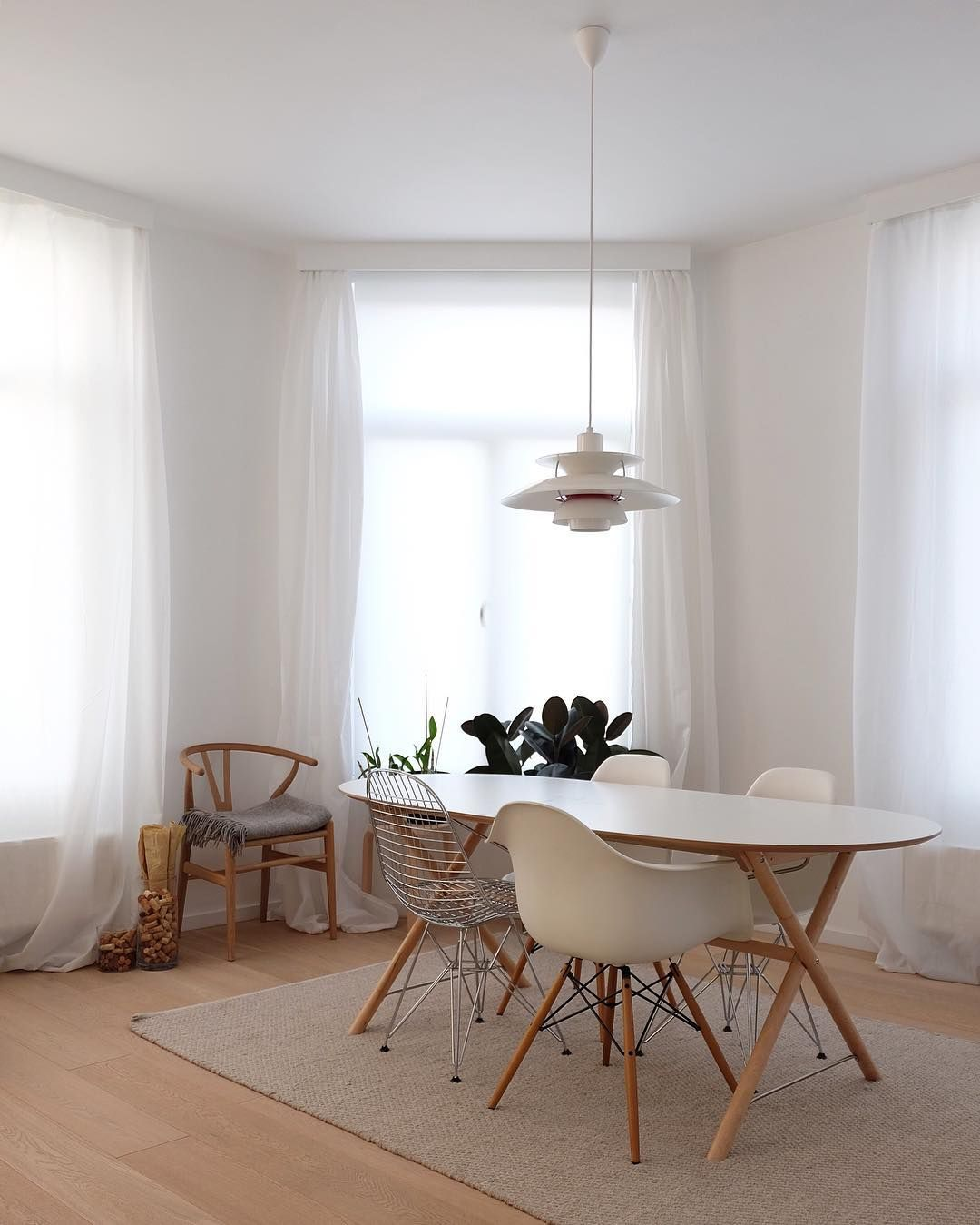 Ikea dining table white - Ikea Sl Hult Dining Table Matches Perfectly With The Eames Hans Wegner Chairs