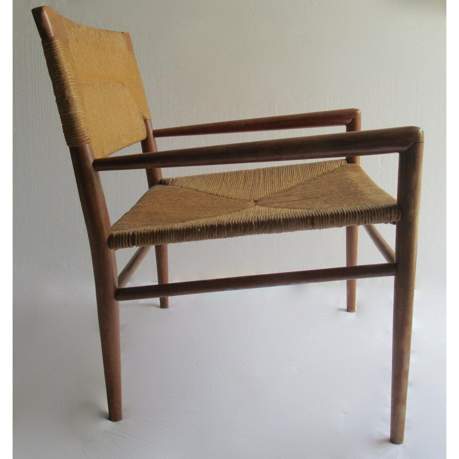 Mel smilow early mid century c 1956 mel smilow thielle walnut woven lounge chair for sale image 4 of 13