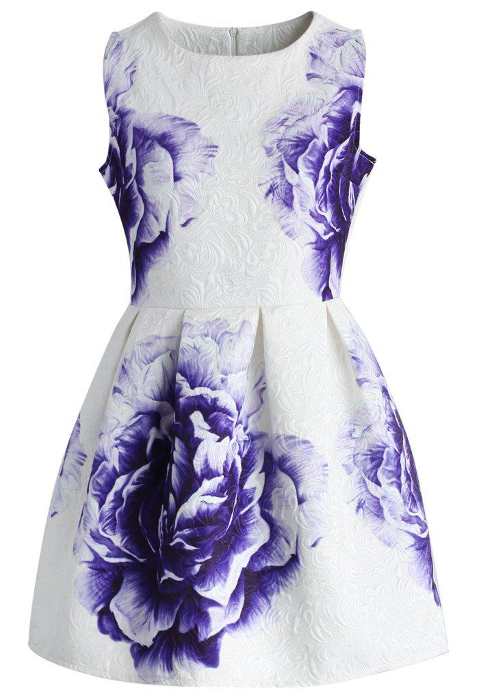 Purple Peony Jacquard Dress