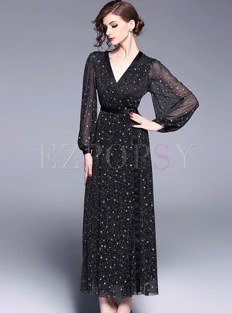 eaf5c207d0 Black Hot Drilling Mesh Lantern Sleeve Maxi Dress