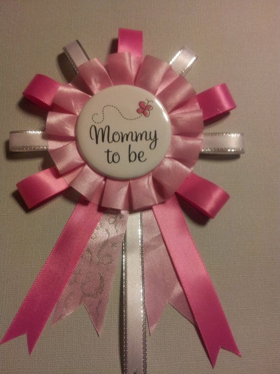Exceptional Pink And White Mommy To Be Baby Shower Corsage Pin
