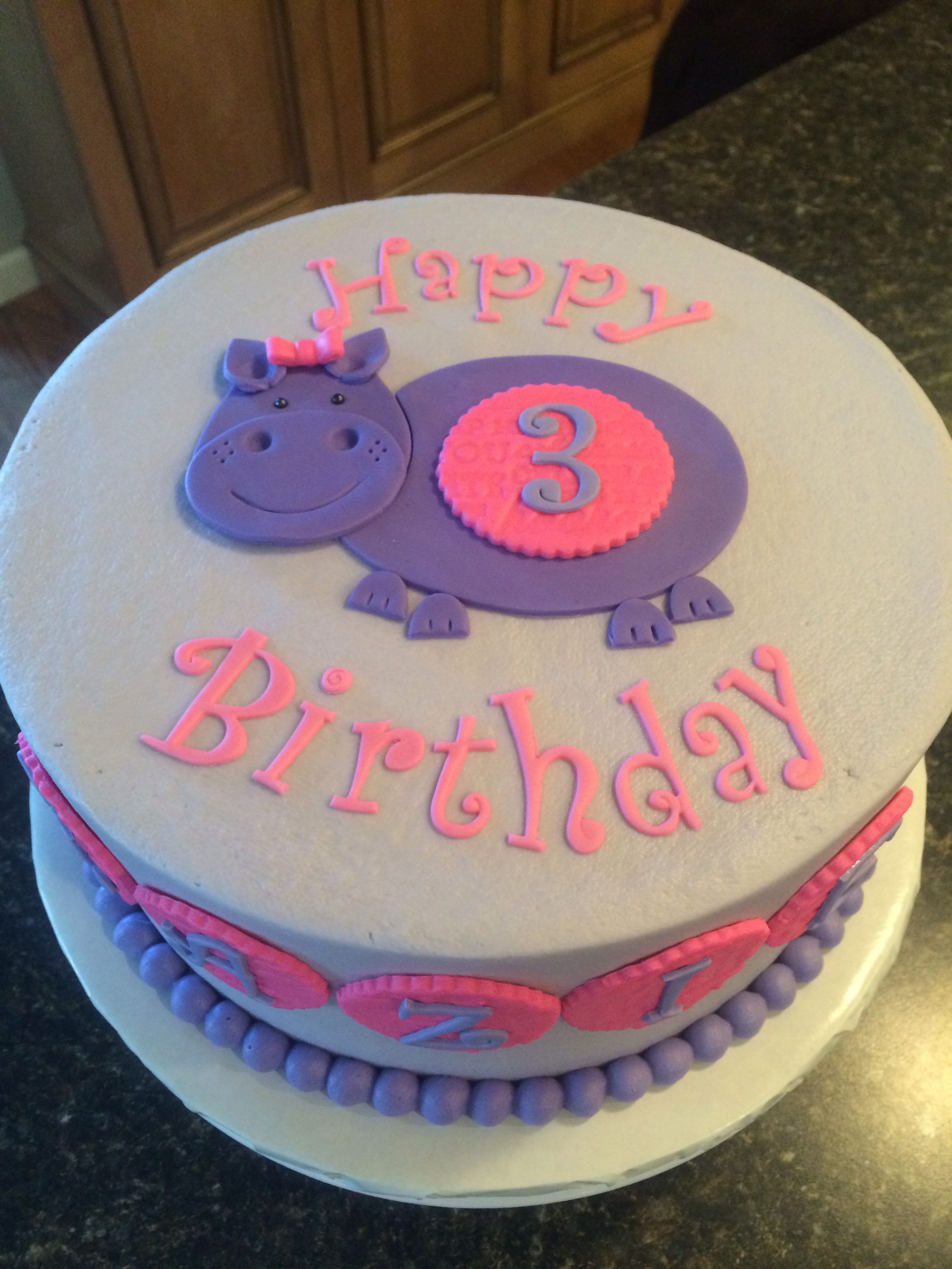 How To Make Cake Mazies Purple Hippo Bday Girl Birthday Girls 5th Ideas