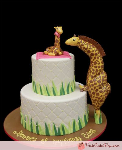 Giraffe Themed Baby Shower Cake » Custom Baby Shower Cakes | Shower Cakes,  Giraffe And Cake