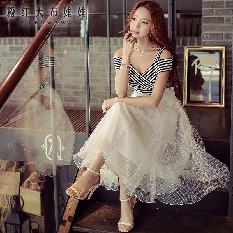 ba0097701928d original dresses summer 2017 new fashion ladies slash neck stripes ...
