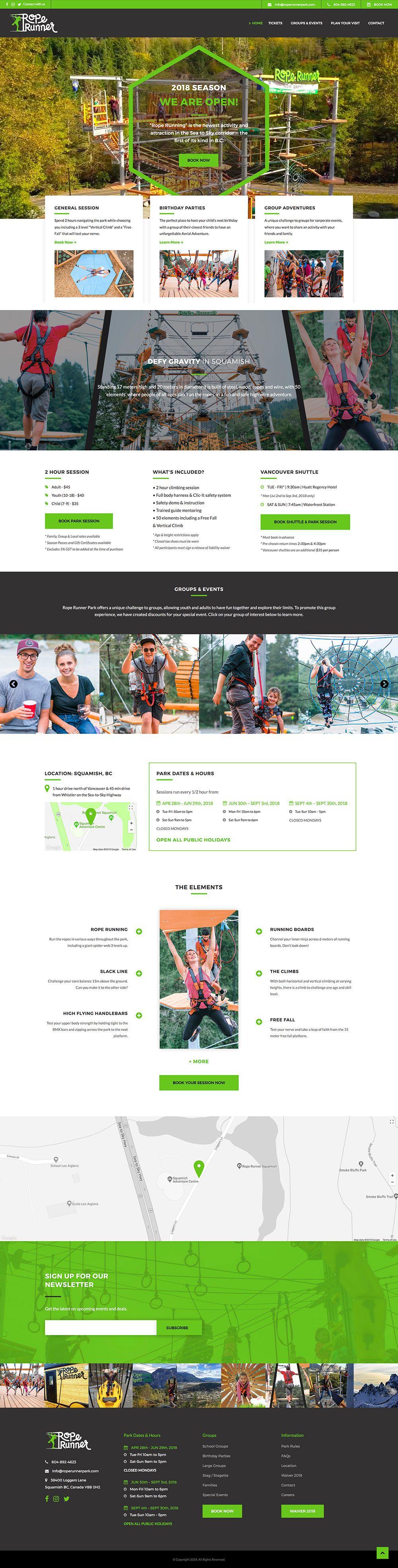 Rope Runner Aerial Adventure Park Lindsay Mcghee Designs Website Design Squamish Bc In 2020 Adventure Park Extreme Adventure Tradeshow Banner