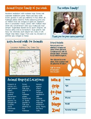 Inside page 3. Animal or pet newsletter. Great for animal ... on veterinary referral form template, we love your pets template, veterinary job application template, veterinary new client form template, veterinary newsletter ideas, veterinary medical form template,