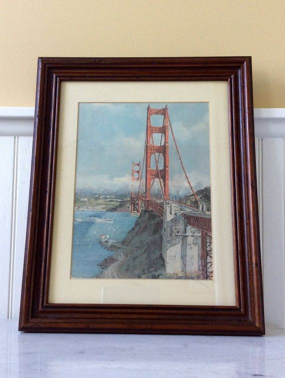 Vintage Wood Framed Print Don Davey San Francisco Golden Gate Bridge Signed Art 1968 Wall Decor Retro Mid Centu Sign Art Framed Prints Dark Wood Frames