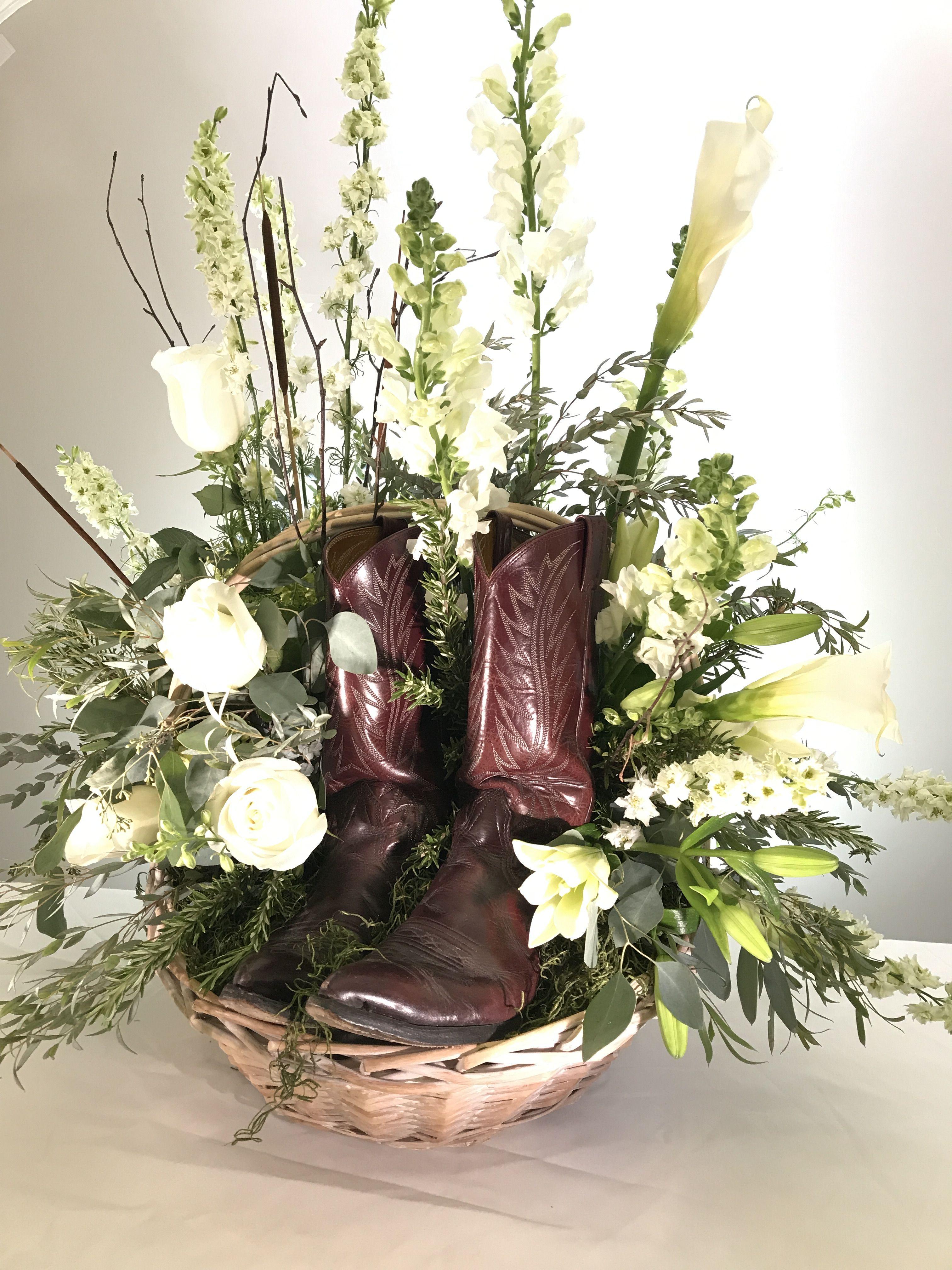 Personalized tribute flowers cowboy boots funeral flowers white personalized tribute flowers cowboy boots funeral flowers white funeral flower arrangement izmirmasajfo