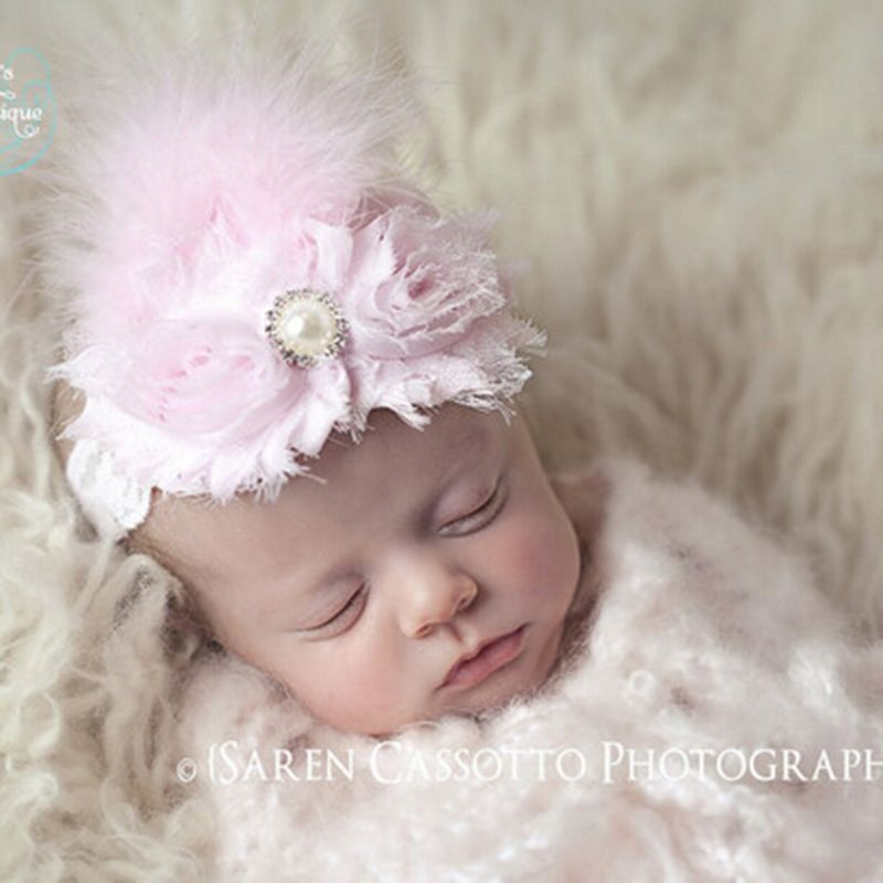 db1e1493bcd Newborn Flowers Feather Pearl Headband Kids Flower Lace Headband Headwrap Hair  Bands Hair Accessories Photography Props Gift  Affiliate