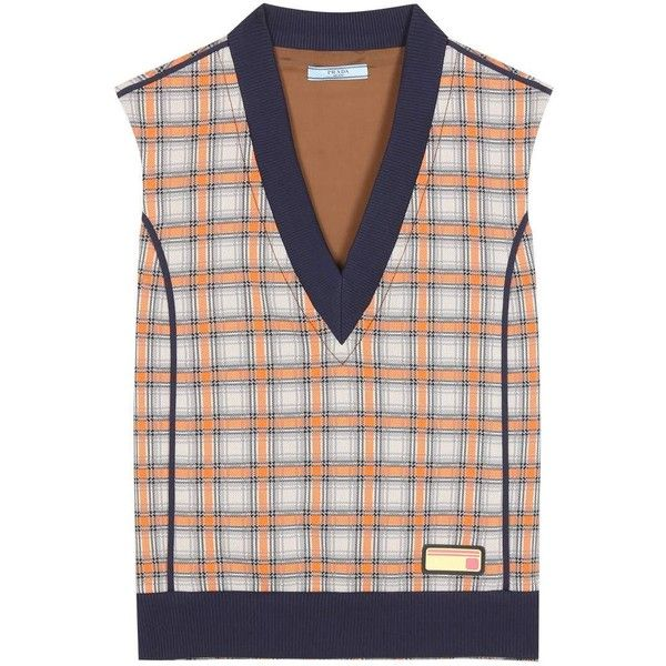 Prada Checked Sweater Vest (4.905 RON) ❤ liked on Polyvore ...