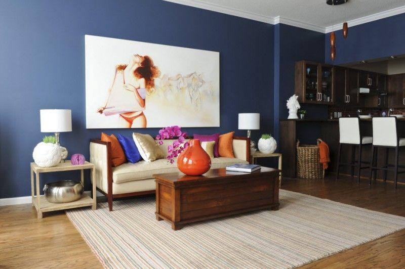 Quelle nuance de peinture bleue 30 exemples magnifiques Salon beige et brun