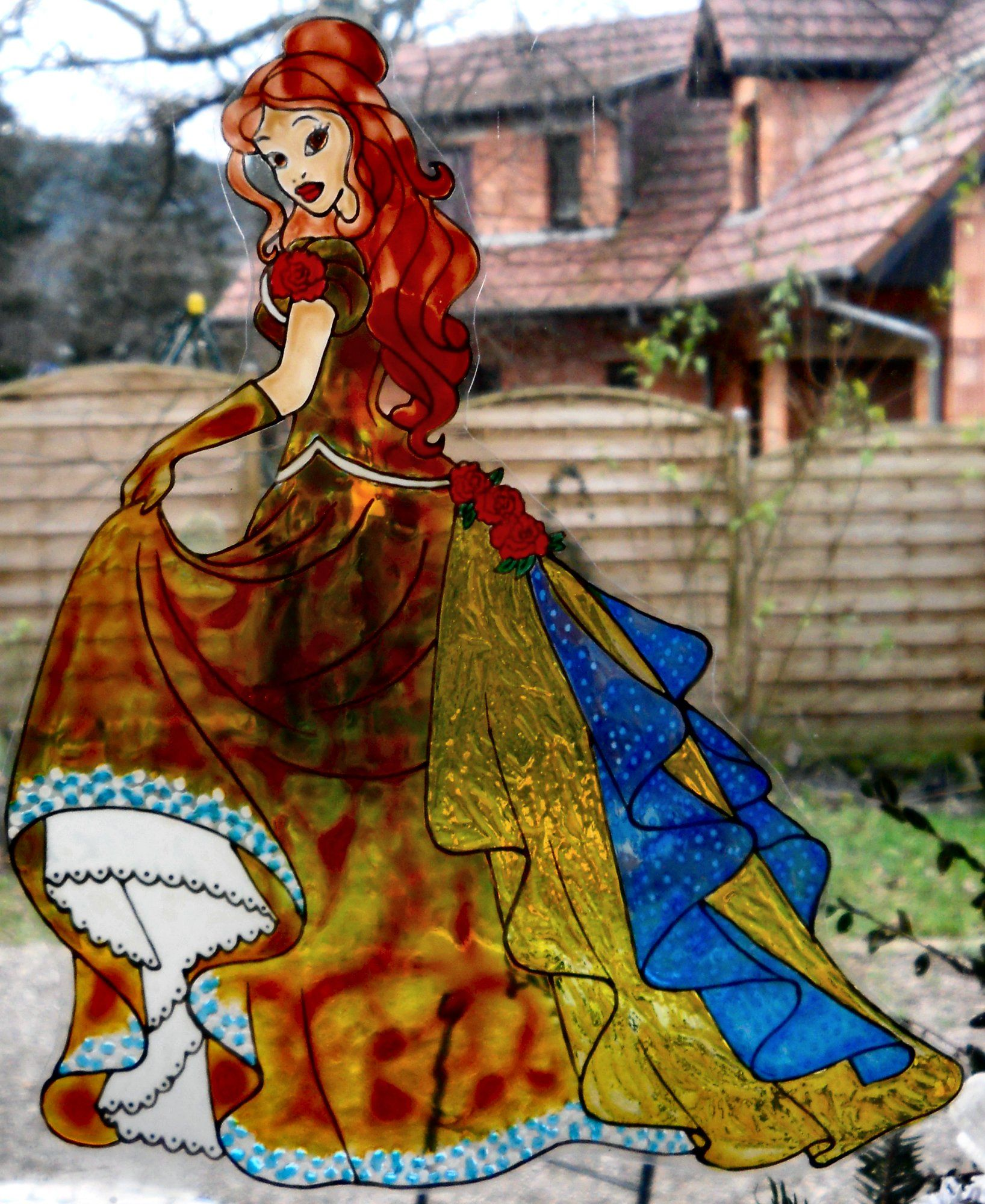 princess Bella glamour wicoart HANDMADE STAINED GLASS EFFECT WINDOW CLING EASY TO APPLY AND TO REMOVE HAND PAINTED WITH GALLERY GLASS AND GLASS PAINT PEBEO ON AN ELECTROSTATIC VINYL SHEET ONE OF A KIND OOAK