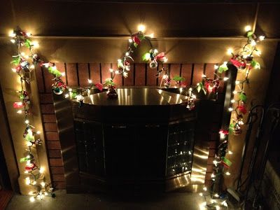 DIY Light Up Banner made with scrap fabric & old ornaments. Festive fun!