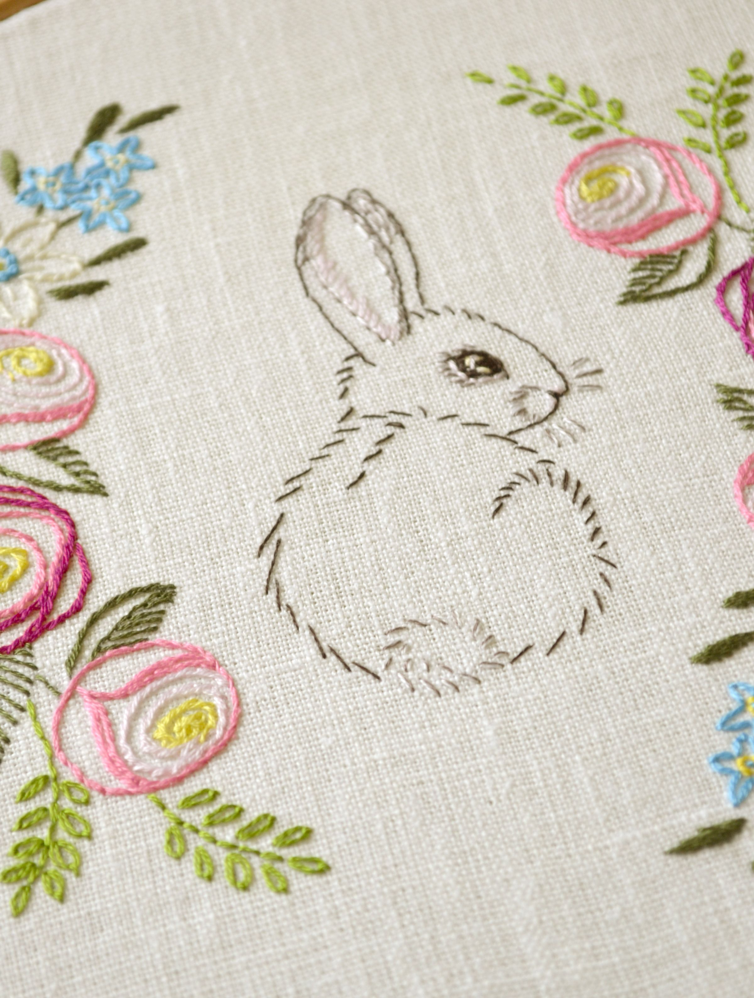 Easter bunny flowers hand embroidery naiveneedle