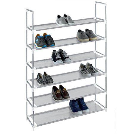 Storage Solutions Grey 6 Tier Plastic Shoe Rack And Storage Closet Organizer 30 Pair Capacity Stackable Shoe Rack Plastic Shoe Rack Shoe Storage Rack
