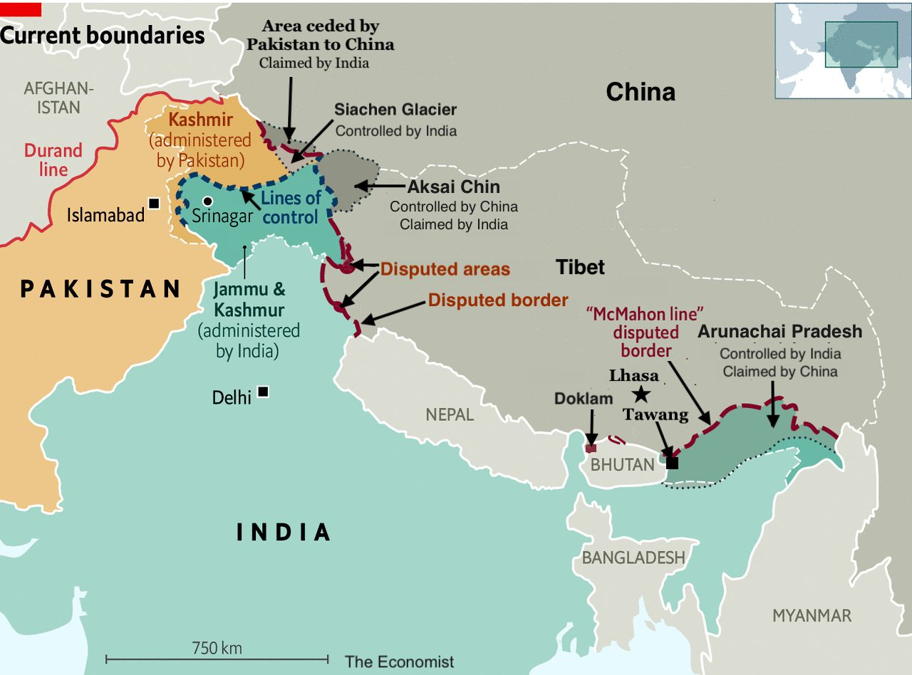 India/China/Pakistan Border Regions and current border