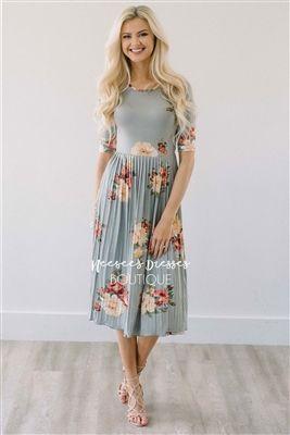 e560407fed Sage Floral Dress Pleated Modest Dress Bridesmaids Dress, Church Dresses,  dresses for church, modest bridesmaids dresses, trendy modest dresses, ...