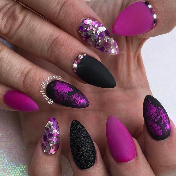 50Pcs Nail Glitter Transfer Sticker Nails Glitter Tips Nail Art ...