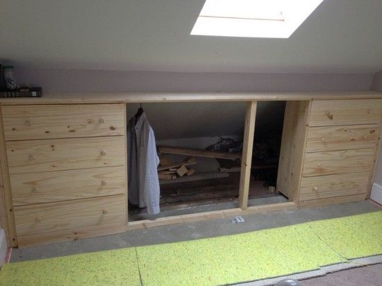 Under Eaves Storage With Clothes Rail Ikea Tarva Hack Ikea Hackers Eaves Storage Attic Renovation Small Bedroom Remodel