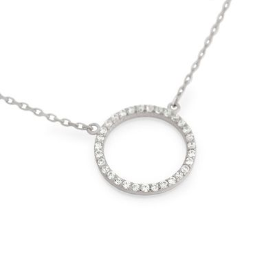 """Sterling Silver and CZ Eternity Circle Necklace Your choice....$30!! *16"""" + 2"""" extender total length. *also available in Rose Gold and Yellow Gold plated. www.facebook.com/groups/jewelrybycara"""